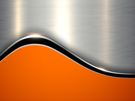 Elegant metallic background, silver orange vector design.