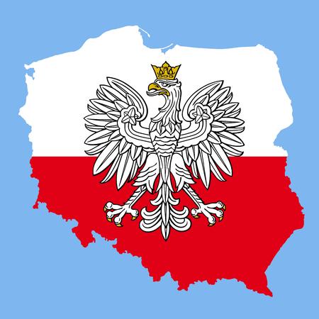Carte de Pologne avec aigle et drapeau polonais rouge blanc, emblème national de vecteur.
