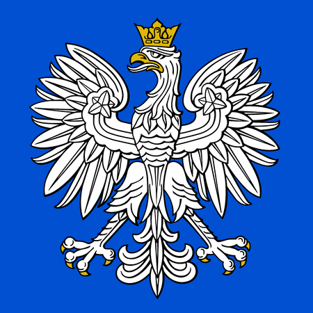 Poland eagle, polish national coat of arm on blue background, vector illustration.