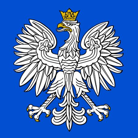 Polen-Adler, polnisches Staatswappen auf blauem Hintergrund, Vektorillustration.