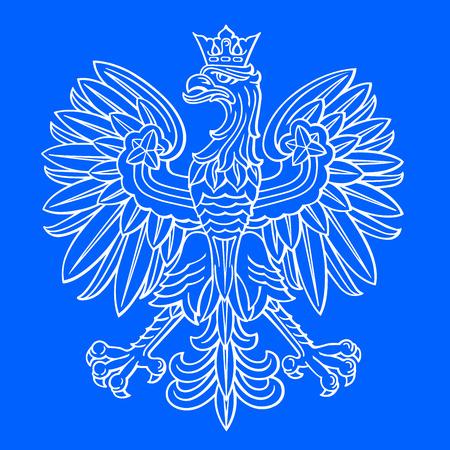 Poland eagle, polish national coat of arm on blue background, vector illustration.