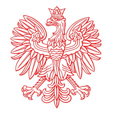 Polska orzeł na białym tle, ilustracji wektorowych.