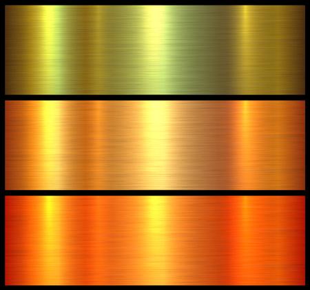 Strutture metalliche oro arancione spazzolato sfondo metallico, illustrazione vettoriale.