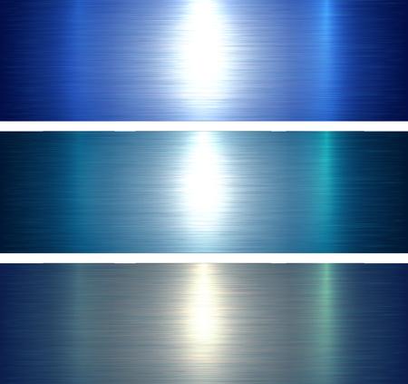 Blauer gebürsteter metallischer Hintergrund der Metalltexturen, Vektorillustration.