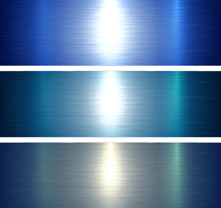 Textures métalliques bleu fond métallique brossé, illustration vectorielle.