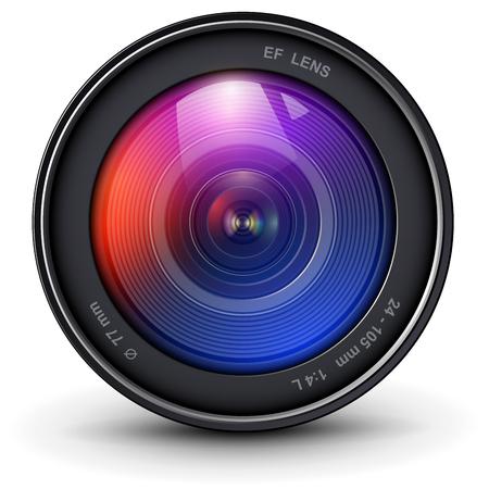 Icona realistica 3D dell'obiettivo fotografico della fotocamera, illustrazione vettoriale.