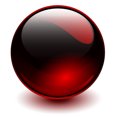 Glass sphere red, vector shiny ball.