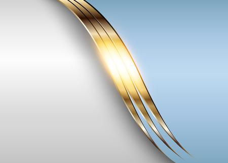 Business elegant background, shiny gold metallic with blue elements.