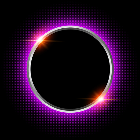 Silver sparkling ring with purple neon glitter on black background, vector illustraion. Banque d'images - 122660302