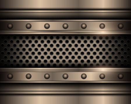 Metal background with rivets, technology vector design. Ilustrace