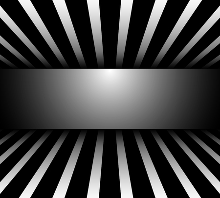 Background 3d black and white striped wiith banner, vector illustration. Çizim