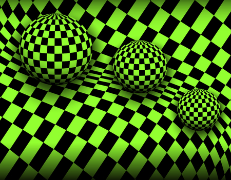 Background 3d, checkered spheres, vector illustration Çizim