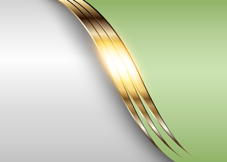 Business elegant background, shiny gold metallic with green elements.