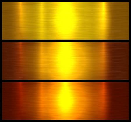 Metal textures gold brushed metallic background, vector illustration. Çizim