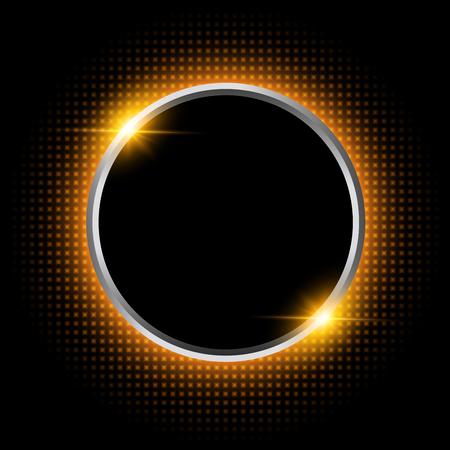 Silver sparkling ring with orange neon glitter on black background, vector illustraion.