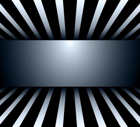 Background 3d black and white striped wiith banner, vector illustration. Illustration