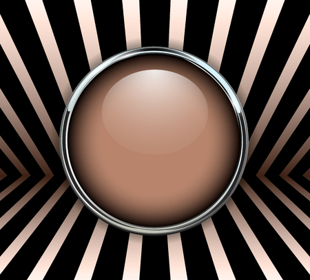 Background 3d with beige button, vector illustration.