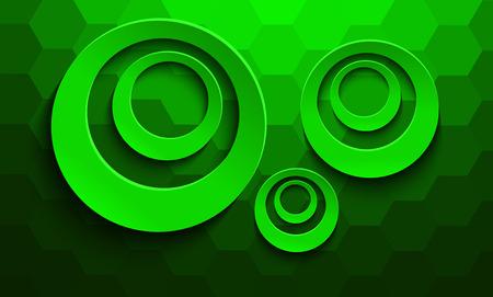 Abstract green 3D background, circular shapes over hexagonal pattern, vector design. Çizim