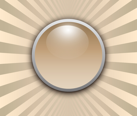 Background 3d with glossy button over burst beige pattern, vector illustration.