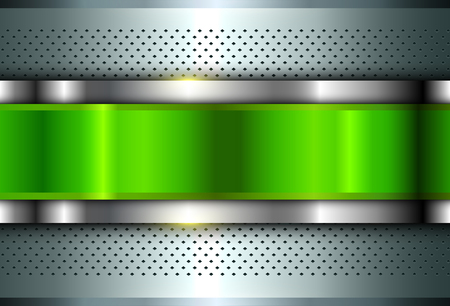 Metallic background silver green, polished steel texture, vector design. Ilustrace