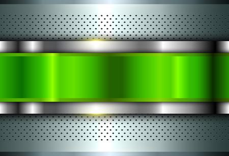 Metallic background silver green, polished steel texture, vector design. Çizim
