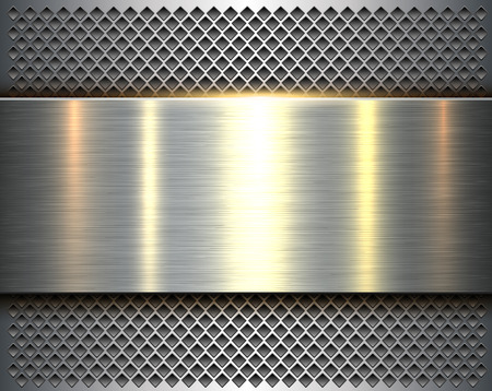 Metallic background silver 3d shiny metal banner and perforated pattern, vector illustration.