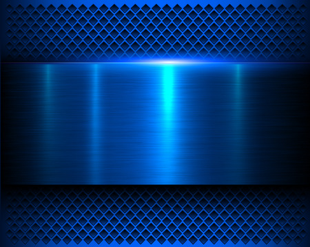 Metallic background blue 3d shiny metal banner and perforated pattern, vector illustration.
