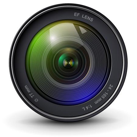 Camera photo lens 3D realistic icon, vector illustration. Illustration