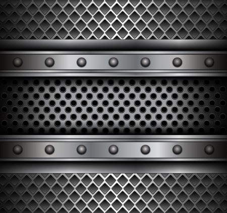 Metal background with rivets, technology vector design.