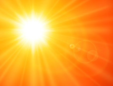 Fondo soleado naranja, sol con destello de lente, diseño de verano vectorial. Ilustración de vector