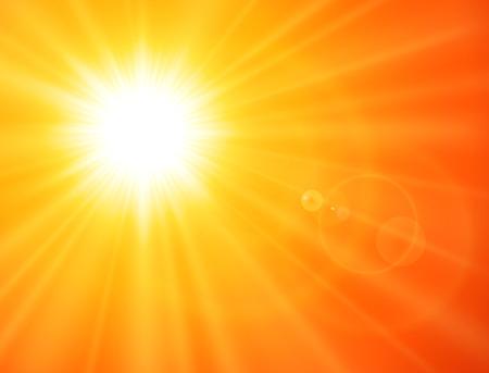 Sfondo arancione soleggiato, sole con riflesso lente, design estivo vettoriale. Vettoriali
