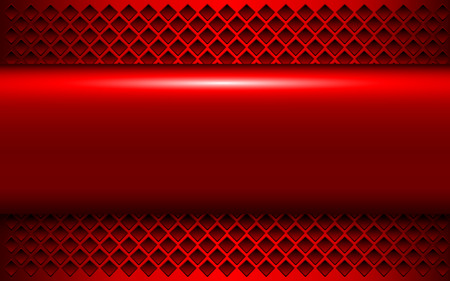 Metallic background red 3d shiny metal banner and perforated pattern, vector illustration. Çizim
