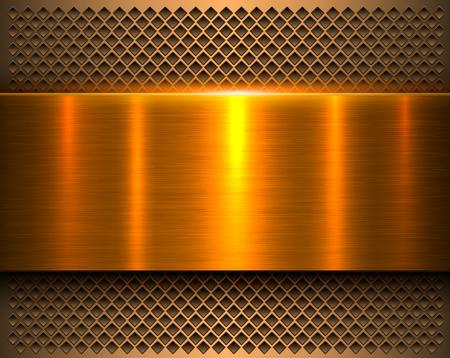 Fond métallique or 3d bannière en métal brillant et motif perforé, illustration vectorielle. Vecteurs