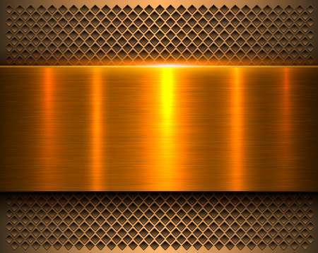 Metallic background gold 3d shiny metal banner and perforated pattern, vector illustration.