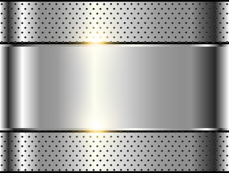 Metallic background silver polished steel texture, vector design.