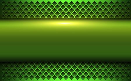 Green metallic background, 3d bannner over perforated background, vector illustration. Çizim