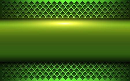 Green metallic background, 3d bannner over perforated background, vector illustration. Illustration