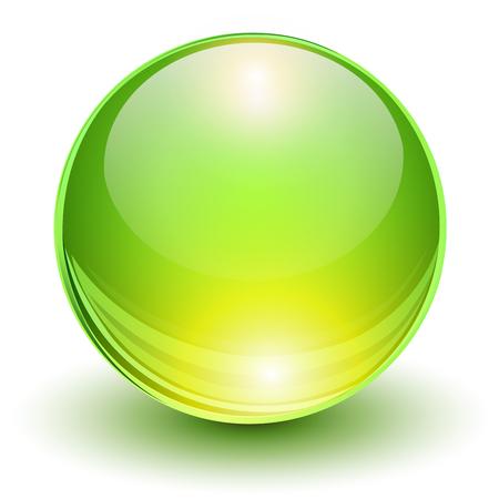Glass green ball, 3D shiny icon, vector illustration
