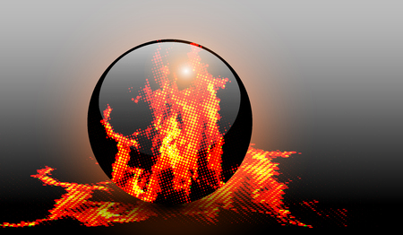 Abstract background with halftone fire, vector design.