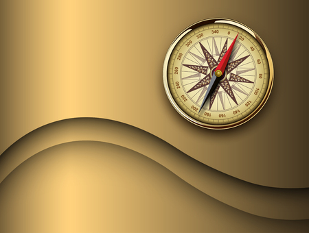 Travel background 3D with vinatage compass, retro vector design. Ilustrace