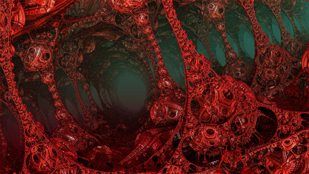 Abstract background, fantastic 3D structures, dark and bloody fictional background. Stock Photo