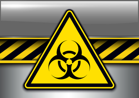 Warning, danger background with biohazard danger sign, vector illustration. Illustration