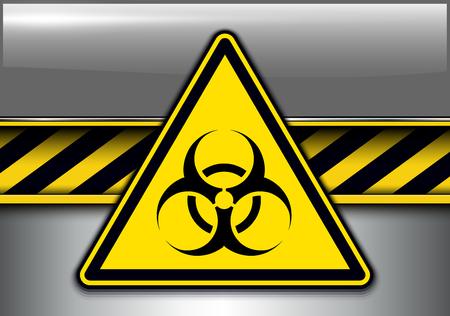 Warning, danger background with biohazard danger sign, vector illustration.