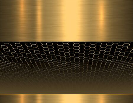 Metallic background 3D, gold with hexagons pattern vector illustration.