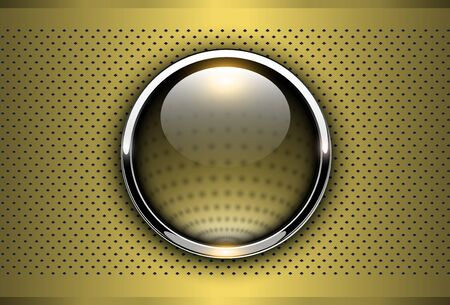 Gold metallic background, 3D with shiny button and dotted pattern, vector illustration.