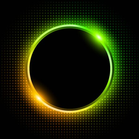 Silver sparkling ring with green orange neon glitter on black background, vector illustration. Illustration
