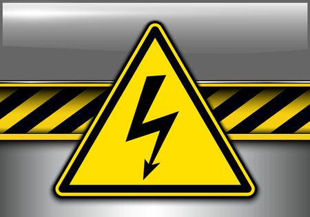 Warning, danger background with high voltage danger sign, vector illustration.