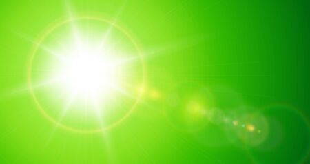 Sun with lens flare, vector nature green background.
