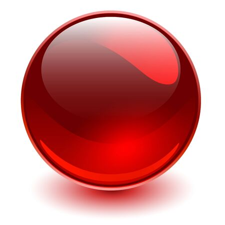 Glass sphere red, 3D shiny ball. Иллюстрация