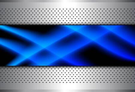 Silver metallic background, 3D with blue neon lines over dotted pattern, vector illustration.